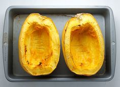 An easy tutorial on how to cut, de-seed, and roast spaghetti squash. Spaghetti squash makes for a delicious and healthy gluten-free meal! Special Recipes, New Recipes, Crockpot Recipes, Cooking Recipes, Favorite Recipes, Healthy Recipes, Healthy Dishes, Spaghetti Squash Pasta, How To Make Spaghetti