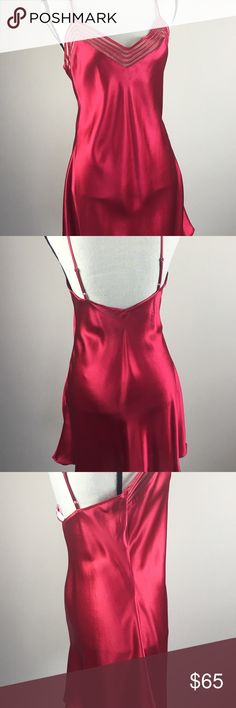 Victoria's Secret Slip Nightie Lingerie Sleepwear This 100% Silk nightie by Victoria's Secret  is absolutely stunning in a pretty deep red  color. Mesh front detail; adjustable straps.   Label : Victoria's Secret  ID: 42230/ 07 01 Size: Medium Bust: Waist: Length Material: 100% Silk Care instructions: hand wash cold  / line dry Immaculate condition Victoria's Secret Intimates & Sleepwear Chemises & Slips