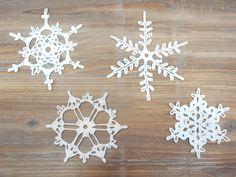 Set of 4 Crochet Snowflakes - christmas decoration ornament. $16.00, via Etsy.