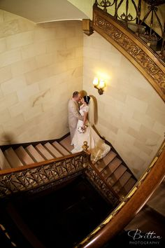 Bride and Groom Wedding Photo at the Davenport Hotel. Photo by Britton Photography.
