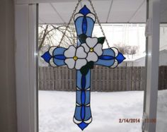 Stained Glass Cross with White Flowers