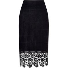 Zibi London Black Floral Lace-Accent Pencil Skirt (255 CNY) ❤ liked on Polyvore featuring skirts, flower print pencil skirt, floral knee length skirt, flower print skirt, long floral skirts and lace skirt