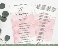 Pink Watercolor Printable Wedding Program Printable Program