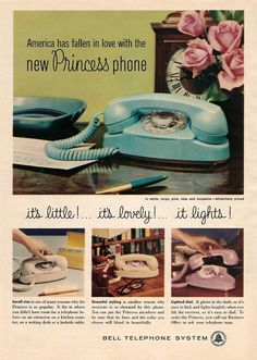 Our Favourite Old Fashioned Telephones { Funky Retro } Retro Advertising, Retro Ads, Vintage Advertisements, Vintage Ads, Vintage Stuff, Advertising Archives, Vintage Humor, Advertising Design, Vintage Posters