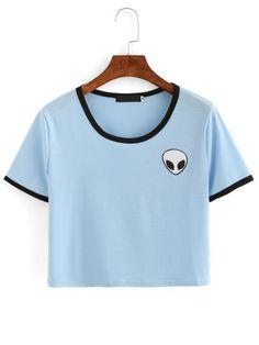 Camiseta Crop estampado de extraterrestre con cuello redondo -azul