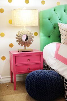 Amazing Tween Girl Bedroom Design: Pink, Navy, Gold and Green - Pink Peppermint Design