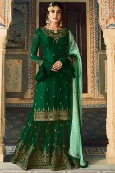 Attractive Georgette Satin Sharara Pant Suit In Green Color - LSTV02523