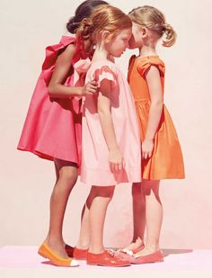 Trio of girls part of back-to-school images in designer styles from CHILDRENSALON, in business since 1852. Blogger and author: Kate Bayless