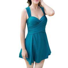 9c510ab4adc Women's One-Piece Push Up Siamese Swimdress Wrapped Chest Padded Plus Size Bikini  Swimsuit Dress