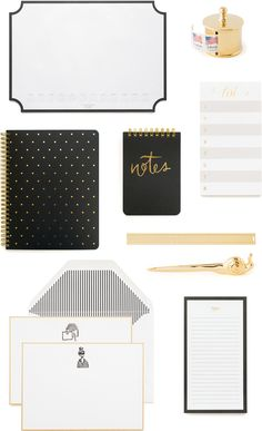 Sugar Paper Brass Desk Accessories Collection and Office Stationery / Oh So Beautiful Paper