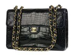 Chanel Dark Navy Shiny Alligator Classic Bag - Ending Soon!