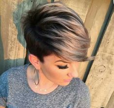Dark shadow root and blonde tip pixie cut