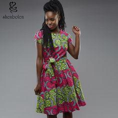 Barato 2016 moda verão de boa qualidade Roupas África impressão vestido Bandage mulheres vestido de mangas…