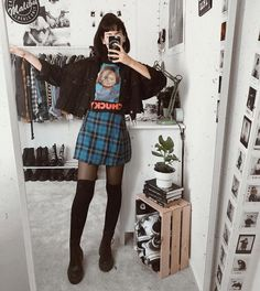 This Outfit 😍 Yay or Nay ? ⠀ tag that friend who would really like to have one of those 😘👽 ! Soft Grunge Outfits, Style Grunge, Grunge Look, Grunge Girl, Edgy Outfits, Mode Outfits, Fashion Outfits, Grunge Fashion Soft, Alternative Mode