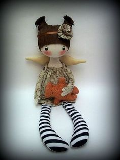 FREE SHIPPING 100/% handmade Tilda inspired cloth doll Lily of the valley OOAK