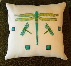 Modern Craftsman, Arts and Crafts Style, Mission Style, Dragonfly Pillow, Hand Embroidery.  Made to Order by Arts & Crafts Stitches.  acstitches.com