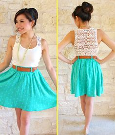 aqua skirt, lace shirt