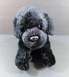 "10"" NAT & JULES Black Lab PUPPY Dog Beanbag Plush Stuffed Toy B231"