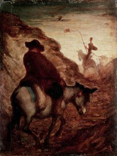 Sancho and Don Quixote; by Honore  Daumier