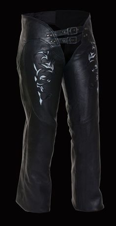 - Premium Cowhide Leather 1.1-1.2mm Thick - Embroidered Reflective Tribal Design on Thigh - Low Rise Waist Design w/ Double Buckle Front - Back Thigh Lacing for Optimal Fit