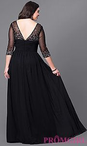 Image of long plus-size v-neck prom dress with 3/4 sleeves. Style: DQ-8855P Back Image