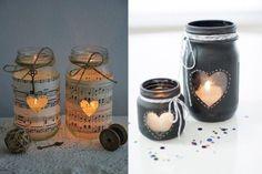 Vemos diferentes formas de decorar con tarros de cristal, sólo necesitamos un poco de pintura, cinta decorativa...