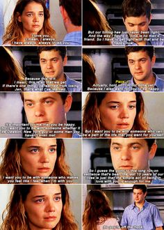 "When Pacey just wanted Joey to be happy and let her ""off the hook"": 
