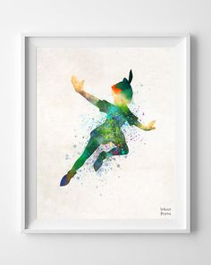 Peter Pan Disney Print Watercolor Nursery Baby por InkistPrints