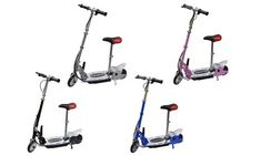 Groupon - One or Two Kid's Foldable Electric Scooters with Seat With Free Delivery. Electric Scooter With Seat, Kids Scooter, Drum Brake, Scooters, Free Delivery, Leather, Motor Scooters, Mopeds
