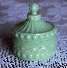 Green-Milk-Glass-Trinket-Jar-w-Lid-New-Vintage-Production-Petite-Hobnail-Detail