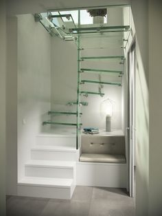 Glass Stairs, Staircases, Alcove, Buildings, Bathtub, Design, Fire Glass, Stairways, Standing Bath