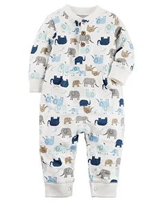 Carter's Baby Boys' Elephant French Terry Jumpsuit