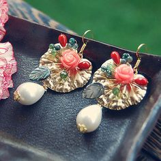 E59 Beads Stone Mix  & White Pearl earring