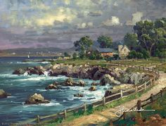 Seaside Village - 2000 - Thomas Kinkade I would love to live in a place like this. It's so beautiful