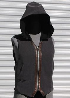 Grey Ghost Steampunk Hooded Vest Leather Trim by OLearStudios, $112.00