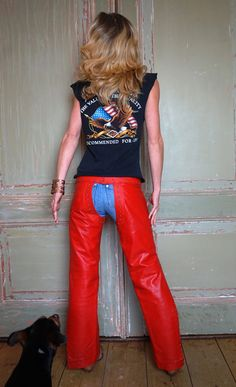 Hot blondes in leather chaps
