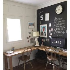 Home Office with Small L Shaped Desk Ideas and chalkboard wall Decor, Office Walls, Home, Home Office, Classic House, Office Design, Chalkboard Wall, Eclectic Home, Furniture