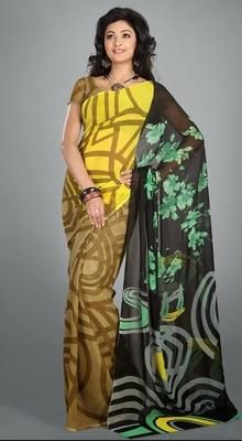 Stylish Faux Georgette Printed Saree #Sarees #Sarees-OnlineShopping
