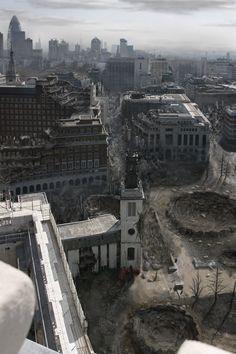 Zone de conflit vu d'un drone