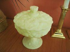 Vintage Fenton Yellow Satin Custard Glass Covered Pedestal Candy Dish 1960