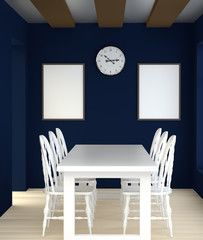 Abstract 3D interior blue dining room with white table and chairs. The interior of the clock on the back side and blank frame.