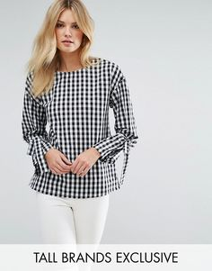 Missguided Tall Gingham Tie Sleeve Blouse.