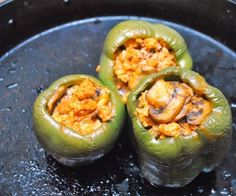 Buffalo Chicken Stuffed Bell Peppers.  A healthier version of the classic hot wing flavors