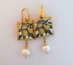 Sicilian Earrings Lemons -lava stone tiles and gold - silver metal-yellow fruit green leaves gold frame- small price for a lovely gift by JewelleryWorkshop on Etsy
