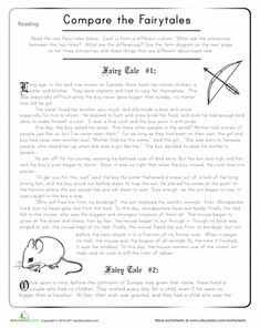 Worksheets: Compare the Fairy Tales