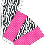 Caixa Fatia Fundo Zebra e Poá Rosa: