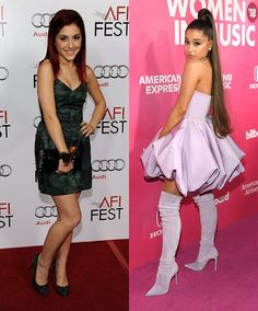 """Ariana Grande BB Ari was adorable, of course, but has said """"thank u next"""" to red box dye and unremarkable club attire since 2009 and sticks to her tried, tested and true signature combo of thigh-high boots, mini-dress and loooooooong pony nowadays. Kardashian Plastic Surgery, Box Dye, Ariana Grande Photos, Blake Lively, Red Carpet Fashion, Hollywood Stars, Lady Gaga, High Boots, 10 Years"""