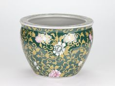 """Antique style Oriental Chinese Ornate Pot Planter Floral Hand painted  26cm/10"""" #Oriental #porcelain #chinoisforliving #chinois #chinoserie"""