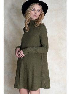 Khaki Rib Jersey Swing Dress