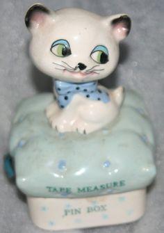 RARE Holt Howard White Kitty Cat Tape Measure Blue Pillow Pin Box | eBay
